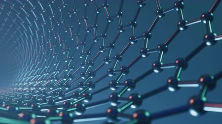 Nanotechnology like scientific background. Hexagonal nanotubes. Graphene atom nanostructure, carbon nanotubes, durable material. Nanotube in form of honeycomb, Loop-able seamless 4K animation