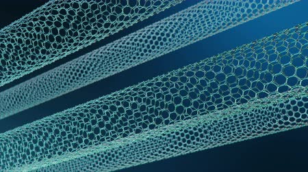 atomic model : Nanotechnology like scientific background. Hexagonal nanotubes. Graphene atom nanostructure, carbon nanotubes, durable material. Nanotube in form of honeycomb, Loop-able seamless 4K animation