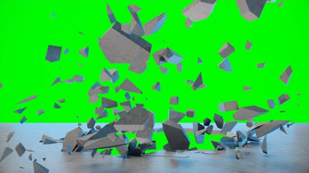 Cracked earth abstract background. Explosion destroys the wall, broken concrete wall. Wall fly to pieces. Hole in wall. Mock-up for your design project. 4K 3D animation on a green background