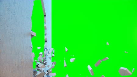 Concrete wall flying into small pieces. Cracked earth. Slow motion effect. Explosion, destruction, broken, concrete wall. Isolated on green background, 4K 3D animation on a green background