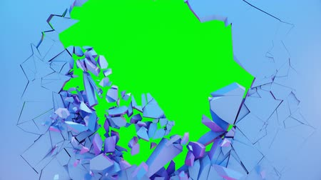 lasca : Broken wall pastel-violet color. Wall shatters into thousands of small pieces. Abstract destroyed background. Explosion, destruction, pastel-violet color wall. 4K 3D animation on a green background.