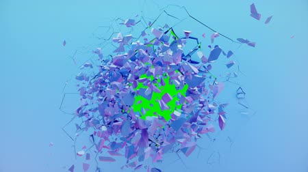 Broken wall pastel-violet color. Wall shatters into thousands of small pieces. Abstract destroyed background. Explosion, destruction, pastel-violet color wall. 4K 3D animation on a green background.