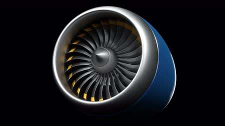 métallique : Animation jet engine, close-up view jet engine blades. Jet engine isolated on black background. Animation of rotating blades of the turbojet. Part of the airplane. Loop able, seamless 4k animation