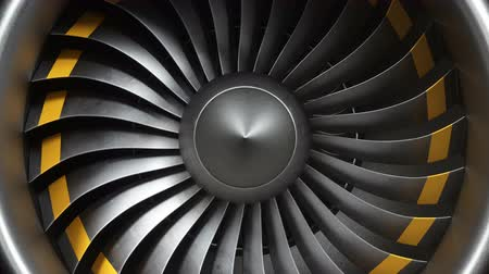 güvenilirlik : Animation jet engine, close-up view jet engine blades. Front view of a jet engine and blades. Animation of rotating blades of the turbojet. Part of the airplane. Loop able, seamless 4k animation