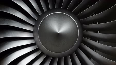 métallique : Animation jet engine, close-up view jet engine blades. Front view of a jet engine and blades. Animation of rotating blades of the turbojet. Part of the airplane. Loop able, seamless 4k animation