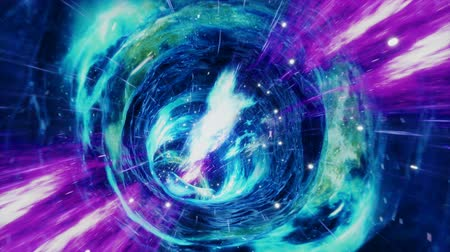 Seamless travel through a wormhole through time and space filled with millions of stars and nebulae. Wormhole space deformation, science fiction. Black hole. Vortex hyperspace tunnel. 4k animation