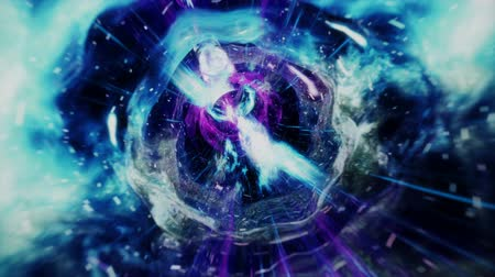 hyperspace : Seamless travel through a wormhole through time and space filled with millions of stars and nebulae. Wormhole space deformation, science fiction. Black hole. Vortex hyperspace tunnel. 4k animation