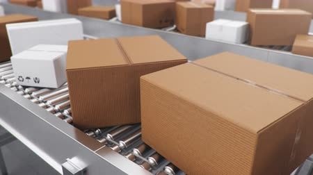 Packages delivery, packaging service and parcels transportation system concept, cardboard boxes on a conveyor belt in a warehouse. Three conveyor belts. Loop-able seamless 4K 3D animation Vídeos