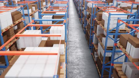Warehouse with cardboard boxes inside on pallets racks, logistic center. Huge, large modern warehouse. Warehouse filled with cardboard boxes on shelves. Loop-able seamless 4K 3D animation Dostupné videozáznamy