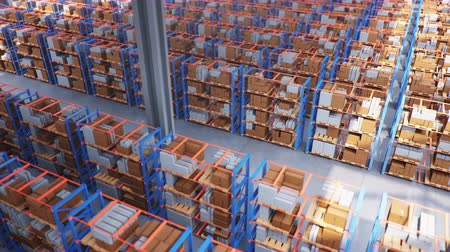 box : Warehouse with cardboard boxes inside on pallets racks, logistic center. Huge, large modern warehouse. Warehouse filled with cardboard boxes on shelves. Top view of the entire warehouse 3D animation