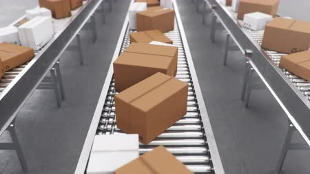 Packages delivery, packaging service and parcels transportation system concept, cardboard boxes on a conveyor belt in a warehouse. Three conveyor belts. Loop-able seamless 4K 3D animation Dostupné videozáznamy