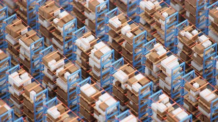 Warehouse with cardboard boxes inside on pallets racks, logistic center. Huge, large modern warehouse. Warehouse filled with cardboard boxes on shelves. Loop-able isometric 4K 3D animation