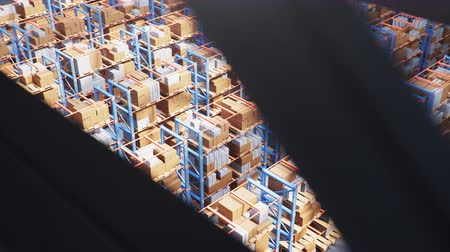 megtöltött : Warehouse with cardboard boxes inside on pallets racks, logistic center. Huge, large modern warehouse. Warehouse filled with cardboard boxes on shelves. Top view of the entire warehouse 3D animation