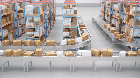 Warehouse with cardboard boxes inside on pallets racks, logistic center. Huge, large modern warehouse. Cardboard boxes on a conveyor belt in a warehouse, loop-able seamless 4K 3D animation Dostupné videozáznamy