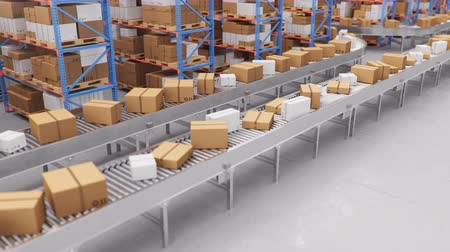 ремень : Warehouse with cardboard boxes inside on pallets racks, logistic center. Huge, large modern warehouse. Cardboard boxes on a conveyor belt in a warehouse, loop-able seamless 4K 3D animation Стоковые видеозаписи