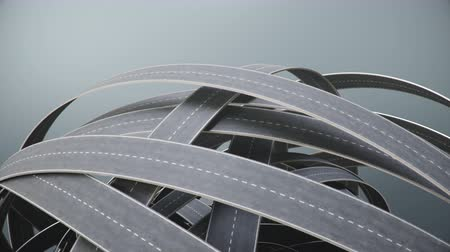 seçme : Tangled roads and highways in a chaotic. Animation with alpha channel.The concept of an intricate road that has no end and no beginning. Labyrinth of roads, traffic congestion. Loop 4K 3d Animation