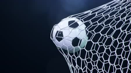 futball labda : Soccer ball flies beautifully into the goal in slow motion. Soccer ball flies into the goal bending the grid on, ball rotating in slow motion. Moment of delight in football 3d 4k animation Stock mozgókép