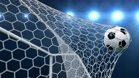 Soccer ball flies beautifully into the goal in slow motion. Soccer ball flies into the goal bending the grid on, ball rotating in slow motion. Moment of delight in football 3d 4k animation Dostupné videozáznamy
