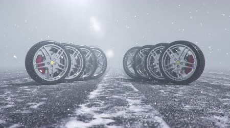 protetor : Winter tires on a background of snowstorm, snowfall and slippery winter road. Winter tires concept. Wheel replacement. Road safety concept. 4k 3d animation with falling snow