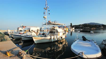 görögország : Boats in small harbor near Vlacherna monastery, Kanoni, Corfu, Greece