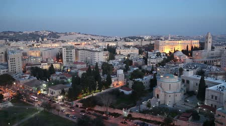 jeruzalém : Evening Aerial View with Old City Wall, Jerusalem, Israel