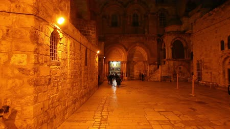 jerozolima : Entrance of Church of the Holy Sepulchre at Night, Jerusalem, Israel