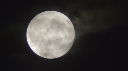 полный : Full Moon in a cloudy night. Very detailed lunar surface with its valleys and craters. Suitable for fear, scary and terror scenes. Awesome full moon. Night of wolf, Halloween night, nightmare. Стоковые видеозаписи