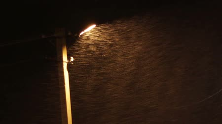 hóvihar : Snow Storm at Night on the Background of a Lamppost.