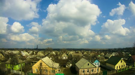kijev : Clouds in the Sky Moving over the Houses in the City. Time Lapse Stock mozgókép