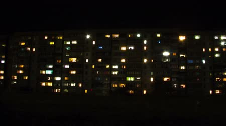 daireler : Multistorey Building with changing Window Lighting at Night. Time Lapse