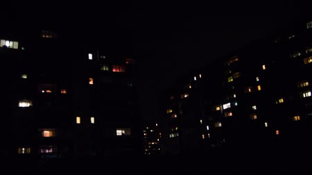 prąd : Multistorey Building with changing Window Lighting at Night. Time Lapse