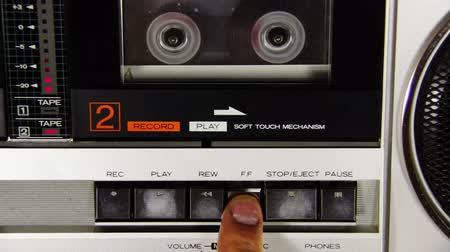 лента : Pushing Button on the Audio Cassette Player Стоковые видеозаписи