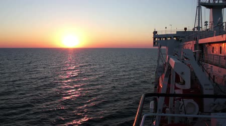 klaipeda : Sunset on the Sea with Moving Cargo Ferry. Stock Footage