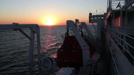 klaipeda : Big Cargo Ferry and Sunset on the Sea Stock Footage