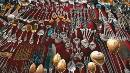panelas : Antique Tableware, Vintage Silver, Iron and Gold Tableware Stock Footage