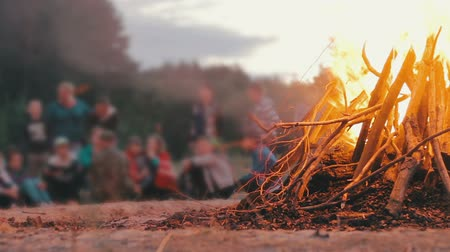 şenlik ateşi : Campfire of the Branches Burn at Night in the Forest on the Background of People