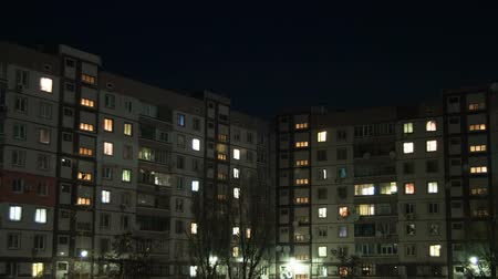 электричество : Multistorey Building With Changing Window Lighting At Night