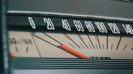 mph : Retro car speedometer. Stock Footage