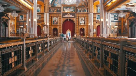 catholic cathedral : The Christian Church Aisle Stock Footage