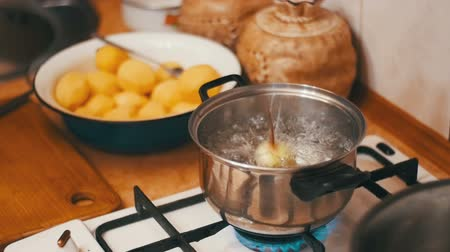 rosół : Onions Flies into a Pot of Boiling Water in the Home Kitchen. Slow Motion.