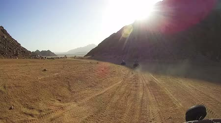 quadbike : Riding on Quad Bikes in the Desert of Egypt Stock Footage