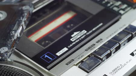 casette : Pushing Play and Stop Button on the Vintage Audio Cassette Player