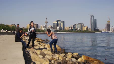 multifunctional : Young People Resting on the Embankment of Baku near the Caspian Sea, Azerbaijan.