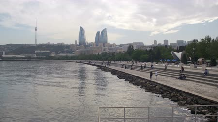 multifunctional : Embankment of Baku, Azerbaijan. The Caspian Sea and Skyscrapers