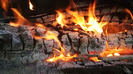 ruinous : Top View of Campfire of the Branches Burn in the Forest. Slow Motion Stock Footage