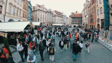 namesti : Crowd of People walking along the streets of the old city in Prague, Czech Republic
