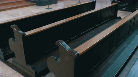 evangelical : Wooden Pews in a Christian Church Aisle