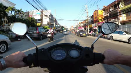 finom : Riding on a motorbike along the Asian Road Traffic. Thailand, Pattaya