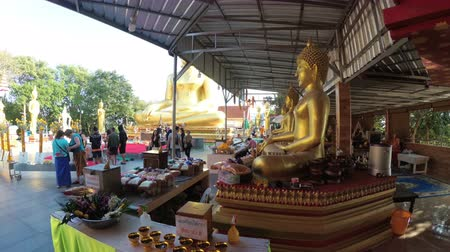 steady cam : Smooth movement of the camera in Temple of Big Golden Buddha. Thailand Stock Footage