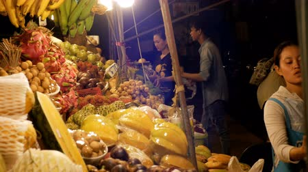speciality : Asian Night Food Market with Exotic Fruits and Vegetables. Thailand. Jomtien, Pattaya.